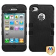MYBAT™ TUFF Silicone Hybrid Phone Protector Case For iPhone 4/4S, Carbon Fiber/Black