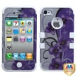 MYBAT™ TUFF Silicone Hybrid Phone Protector Case For iPhone 4/4S, Twilight Petunias/Solid White