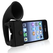 Insten® Silicone Horn Stand Speaker For Apple iPhone 4/4S, Black