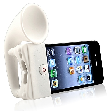 Insten® Silicone Horn Stand Speaker For Apple iPhone 4/4S, White