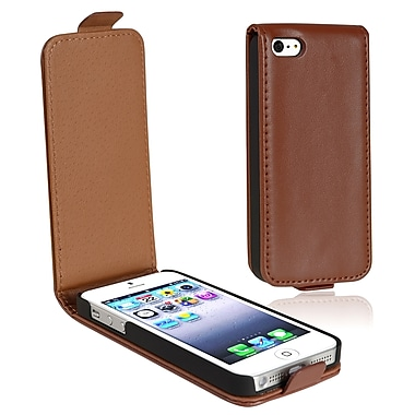 Insten® Leather Snap-in Flip Case For Apple iPhone 5/5S, Brown