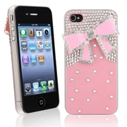 Insten® Hard Plastic Snap-in Case For Apple iPhone 4/4S, Pink With Diamond and Ribbon