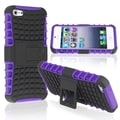 Insten® TPU Rubber Hybrid Case With Stand For Apple iPhone 5, Purple/Black