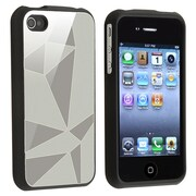 Insten® Plastic Snap-in Case For Apple iPhone 4/4S, Silver Triangle Aluminum