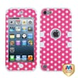 MYBAT™ TUFF Rubber Hybrid Phone Protector Case For iPod Touch 5th Gen, Dots/Pink/White