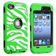 Insten® Silicone Hybrid Case For iPod Touch 4th Gen, Black/White and Green Zebra