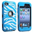 Insten® Silicone Hybrid Case For iPod Touch 4th Gen, Black/White/Light Blue Zebra
