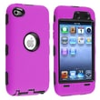 Insten® Silicone Hybrid Case For iPod Touch 4th Gen, Black Hard/Hot Pink