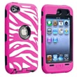 Insten® Silicone Hybrid Case For iPod Touch 4th Gen, Black/White/Hot Pink Zebra