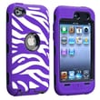 Insten® Silicone Hybrid Case For iPod Touch 4th Gen, Black/White/Purple Zebra