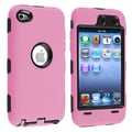 Insten® Silicone Hybrid Case For iPod Touch 4th Gen, Black Hard/Pink