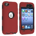 Insten® Silicone Hybrid Case For iPod Touch 4th Gen, Black Hard/Red