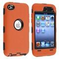 Insten® Silicone Hybrid Case For iPod Touch 4th Gen, Black Hard/Orange