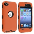 Insten® Silicone Hybrid Case For iPod Touch 4th Gen, Black Hard/Orange