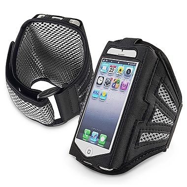 Insten® Deluxe Neoprene Sportband For Apple iPhone 5/5C/5S/Touch 5th Gen, Black/Silver