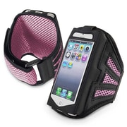 Insten® Deluxe Neoprene Sportband For Apple iPhone 5/5C/5S/Touch 5th Gen, Black/Pink