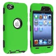 Insten® Silicone Hybrid Case For iPod Touch 4th Gen, Black Hard/Green