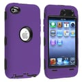 Insten® Silicone Hybrid Case For iPod Touch 4th Gen, Black Hard/Purple