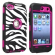 Insten® Silicone Hybrid Case For iPod Touch 4th Gen, White/Zebra Skin Black/Hot Pink