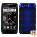 MYBAT™ Rubber Protector Case For Motorola Droid Razr XT912, Titanium Dark Blue/Black Fishbone