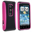 Insten® TPU Rubber Hybrid Case For HTC EVO 3D, Hot Pink/Black