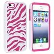 Insten® Silicone Hybrid Case For Apple iPhone 5, Hot Pink/White Zebra