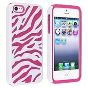 Insten® Silicone Hybrid Case For Apple iPhone 5, Hot Pink/White Zebra