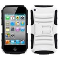 Insten® Silicone Advanced Protector Case With Armor Stand For iPod Touch 4th Gen, White/Black