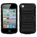 ASMYNA Plastic Armor Kickstand Hybrid Hard Gel Protector Case For iPod Touch 4th Gen, Black