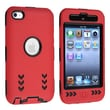 Insten® Silicone Hybrid Case For iPod Touch 4th Gen, Black Hard/Red Arrow