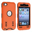Insten® Silicone Hybrid Case For iPod Touch 4th Gen, Black Hard/Orange Arrow