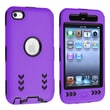 Insten® Silicone Hybrid Case For iPod Touch 4th Gen, Black Hard/Purple Arrow