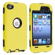 Insten® Silicone Hybrid Case For iPod Touch 4th Gen, Black Hard/Yellow
