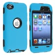 Insten® Silicone Hybrid Case For iPod Touch 4th Gen, Black Hard/Sky Blue