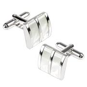 Insten® Nickel Plated Jade Camber Cufflink, Silver/White