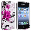 Insten® TPU Rubber Skin Case For Apple iPhone 4/4S, White/Purple Flower