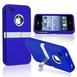 Insten® Hard Plastic Snap-in Case With Chrome Stand For Apple iPhone 4/4S, Blue