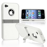 Insten® Rubber Coated Snap-in Case With Chrome Stand For Apple iPhone 4/4S, White