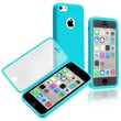 Insten® TPU Rubber Book Case For Apple iPhone 5C, Blue/Clear