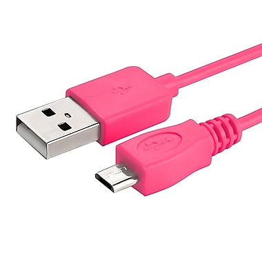 Insten® 6' Micro USB A/B 2-in-1 Cable, Hot Pink