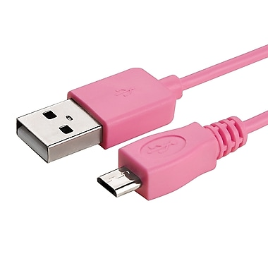 Insten® 6' Micro USB A/B 2-in-1 Cable, Pink