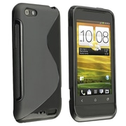 Insten® TPU Rubber Skin Case For HTC One V, Black S Shape