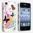 Insten® TPU Rubber Skin Case For Apple iPhone 4/4S, White Autumn Flower With Butterfly