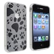 Insten® TPU Rubber Skin Case For Apple iPhone 4/4S, Clear Dog Paw Foot Print