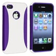 Insten® TPU Rubber Hybrid Case For Apple iPhone 4/4S, Dark Purple/White