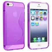 Insten® TPU Rubber Skin Case For Apple iPhone 5/5S, Clear Purple S Shape