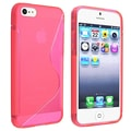 Insten® TPU Rubber Skin Case For Apple iPhone 5/5S, Clear Hot Pink S Shape