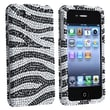 Insten® Hard Plastic Snap-in Case For Apple iPhone 4/4S, Silver/Black Zebra Diamond