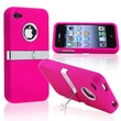 Insten® Hard Plastic Snap-in Case With Chrome Stand For Apple iPhone 4/4S, Hot Pink