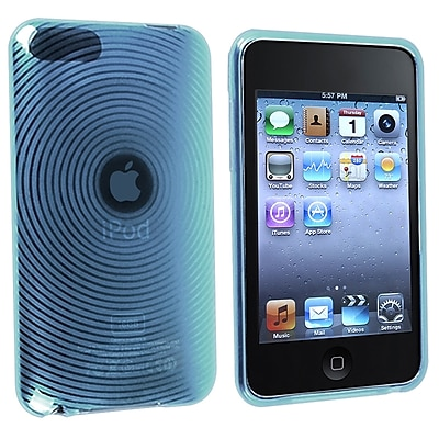 Insten TPU Rubber Skin Case For iPod Touch 2nd 3rd Gen Clear Blue Concentric Circle
